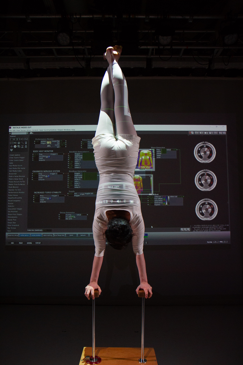 Natalie is in a handstand with an image of dials and the Isadora interface behind her.